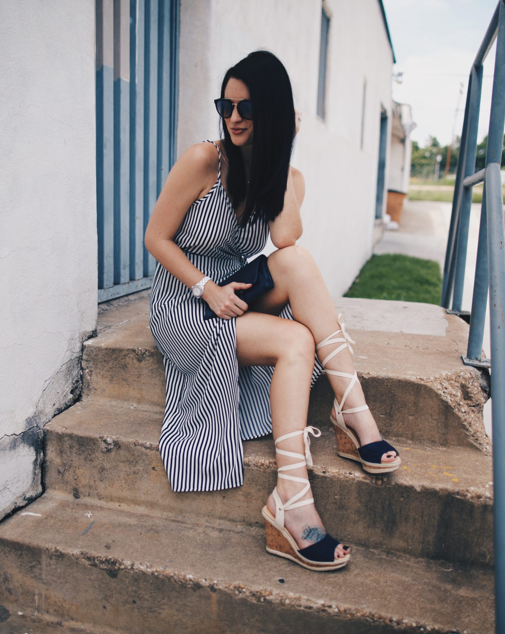 Striped Wrap Midi Dress | how to style a wrap dress | how to wear a wrap dress | wrap dress styling tips | summer fashion tips | summer outfit ideas | summer style tips | what to wear for summer | warm weather fashion | fashion for summer | style tips for summer | outfit ideas for summer || Dressed to Kill