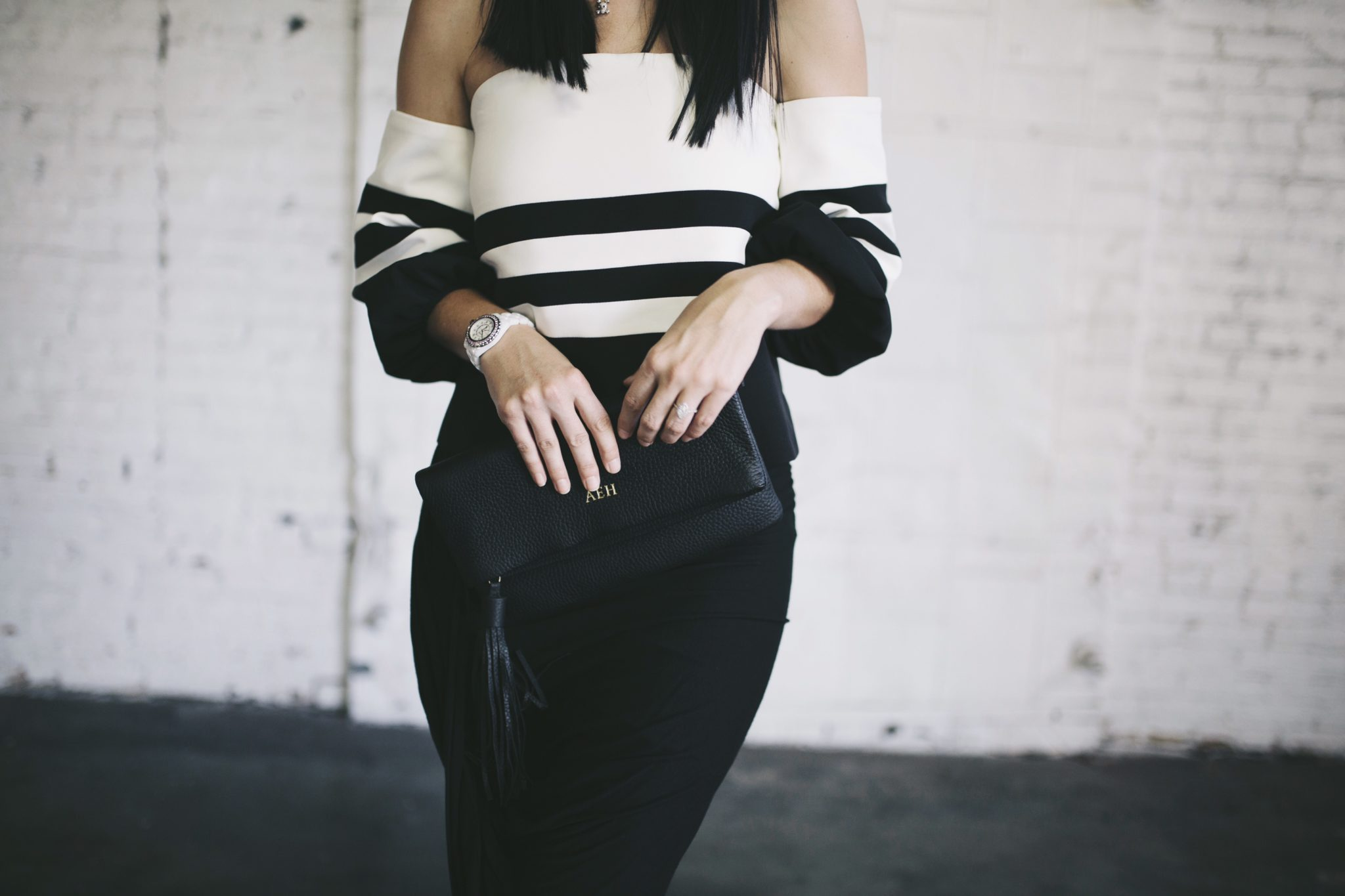 Off-the-Shoulder Striped Black and White Top and Black Skirt | summer fashion tips | summer outfit ideas | summer style tips | what to wear for summer | warm weather fashion | fashion for summer | style tips for summer | outfit ideas for summer || Dressed to Kill