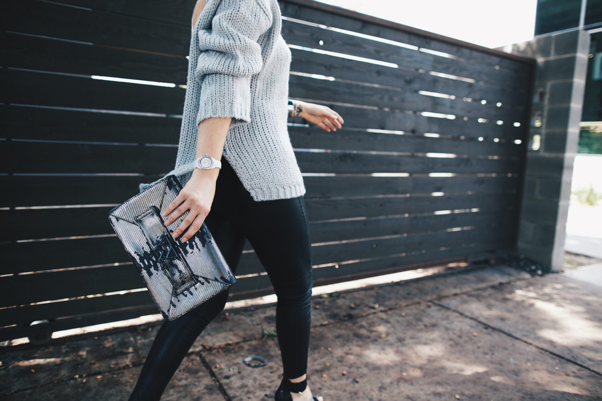 Grey Open Back Sweater and Black Leggings