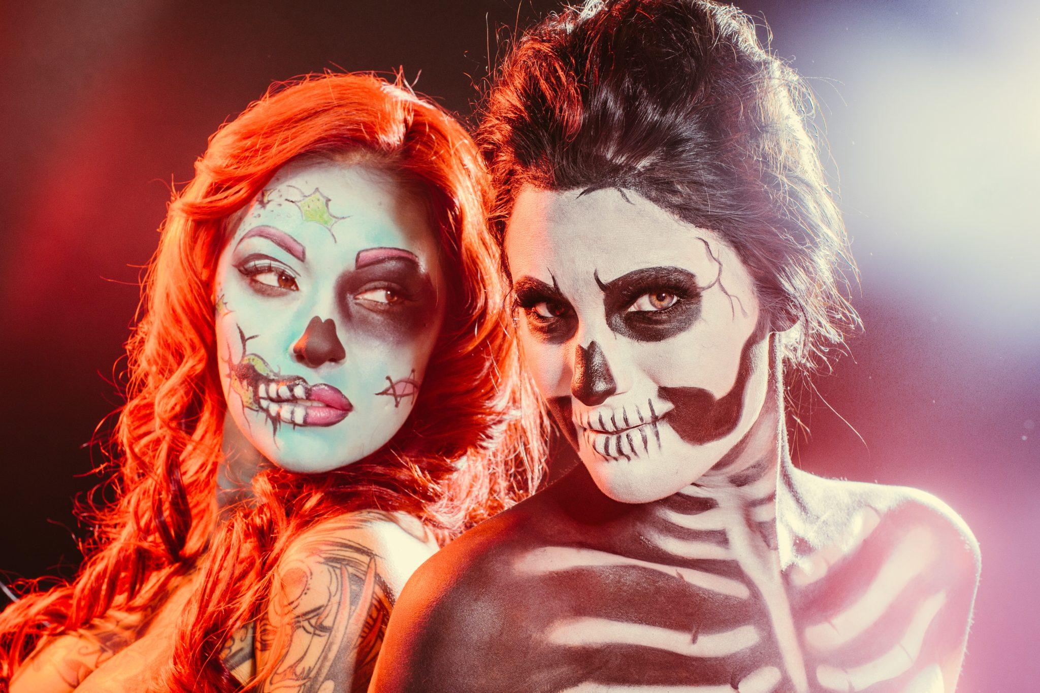 Skeleton and Comic Hallowen Makeup