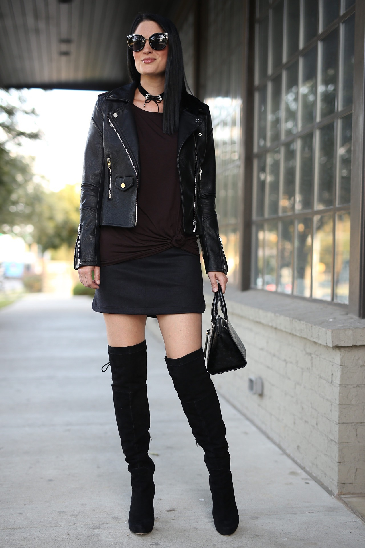 Black Leather Jacket, black mini skirt, black OTK boots | how to style a black mini skirt | how to style black OTK boots | how to style a leather jacket | all black style | fall fashion tips | fall outfit ideas | fall style tips | what to wear for fall | cool weather fashion | fashion for fall | style tips for fall | outfit ideas for fall || Dressed to Kill #blackminiskirt #leatherjacket #otkboots