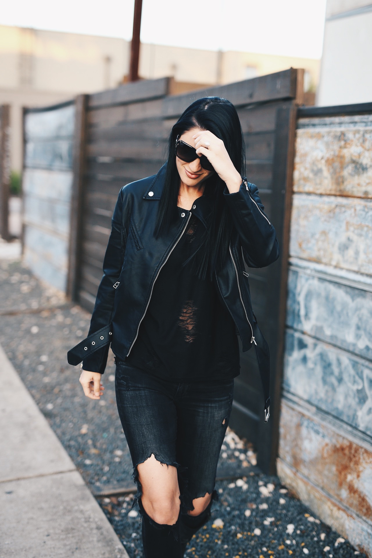 Black Faux Leather Jacket | how to style a leather jacket | how to wear a leather jacket | leather jacket style tips | fall jackets | jackets for fall and winter | fall fashion tips | fall outfit ideas | fall style tips | what to wear for fall | cool weather fashion | fashion for fall | style tips for fall | outfit ideas for fall || Dressed to Kill  #leatherjacket #blackleather #blackjacket