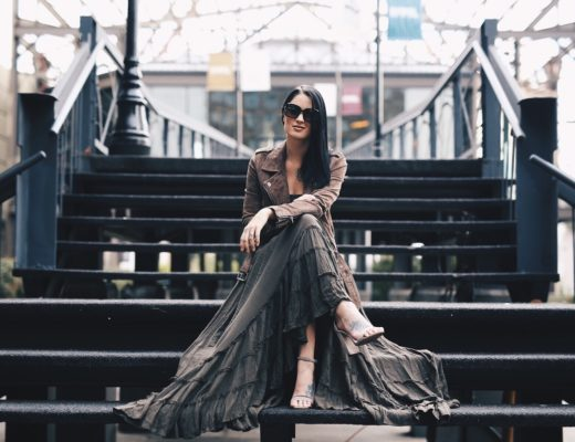 Ashley Hargrove of DTKAustin is wearing a free people maxi dress, Blank NYC leather jacket and Steve Madden shoes in New Orleans