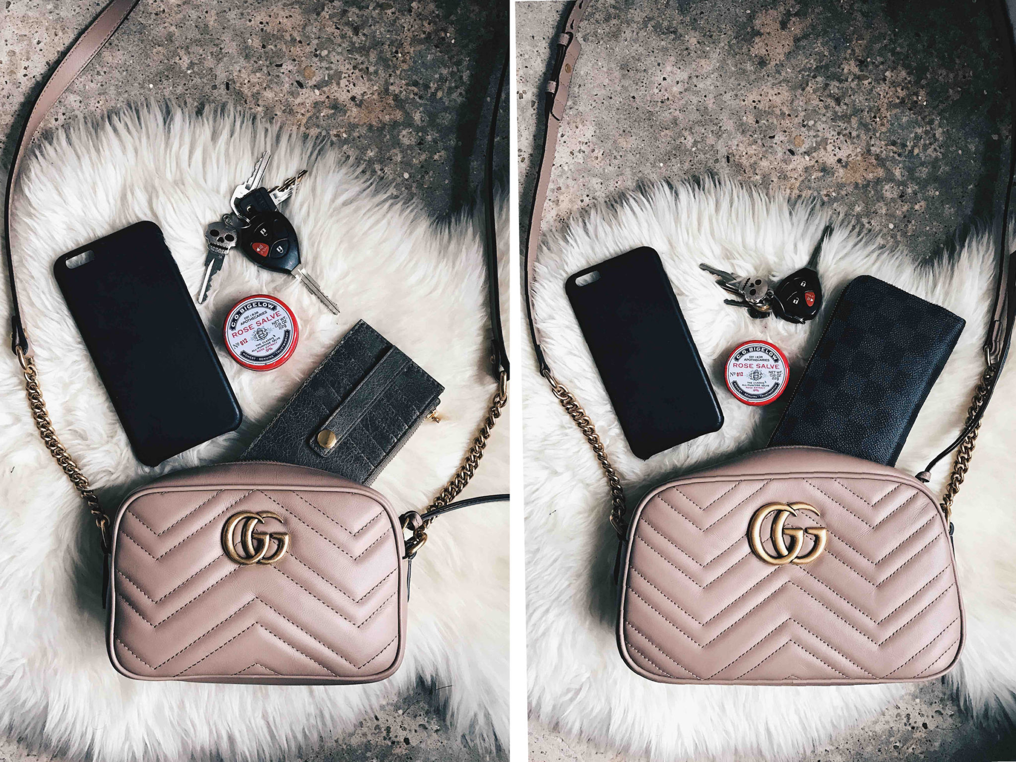 Size Comparison Of The Gucci Marmont Mini Small Crossbody Dressed To Kill
