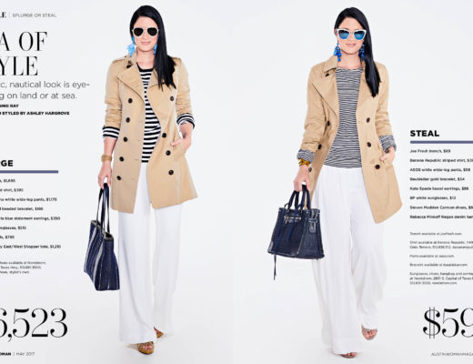 DTKAustin shares her splurge or steal in Austin Woman Magazine on how to recreate the nautical trend on a budget plus the expensive option if you want to splurge. Click for more details and images!