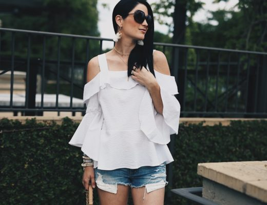DTKAustin shares one of the most affordable summer looks to keep you cute and cool. This seersucker top from Nordstrom is amazing with a pair of cutoff shorts. Click for more information and shopping details.