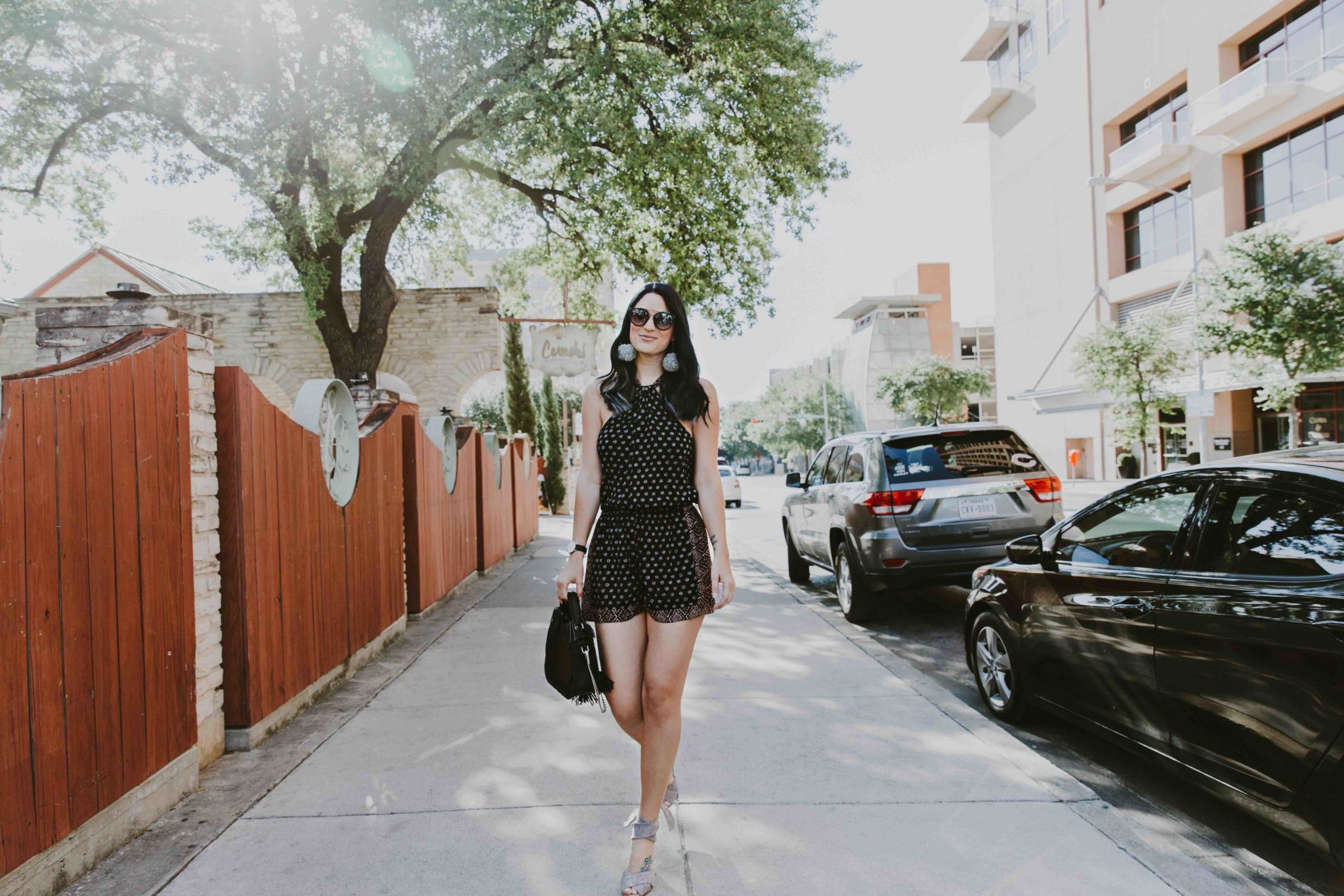 DTKAustin shares her favorite detailed romper and shoes from Splendid plus a gorgeous black leather bag from Rebecca Minkoff. Click for more information and photos. | Black Summer Romper | how to style a romper | how to wear a romper | summer fashion tips | summer outfit ideas | summer style tips | what to wear for summer | warm weather fashion | fashion for summer | style tips for summer | outfit ideas for summer || Dressed to Kill
