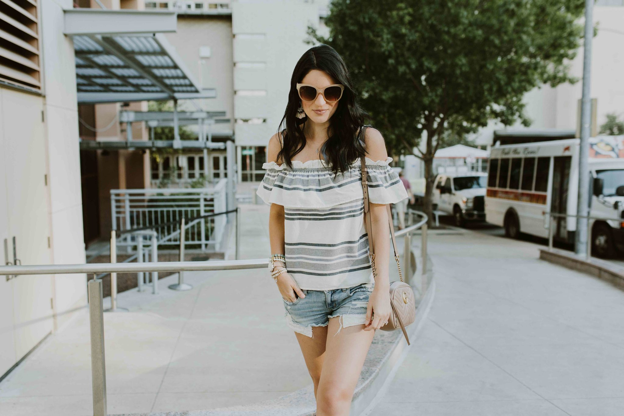 DTKAustin shares one of her go-to, affordable striped off-the-shoulder tops from Splendid. Click for more information or details. | how to style an off-the-shoulder top | how to wear an off-the-shoulder top | summer fashion tips | summer outfit ideas | summer style tips | what to wear for summer | warm weather fashion | fashion for summer | style tips for summer | outfit ideas for summer || Dressed to Kill