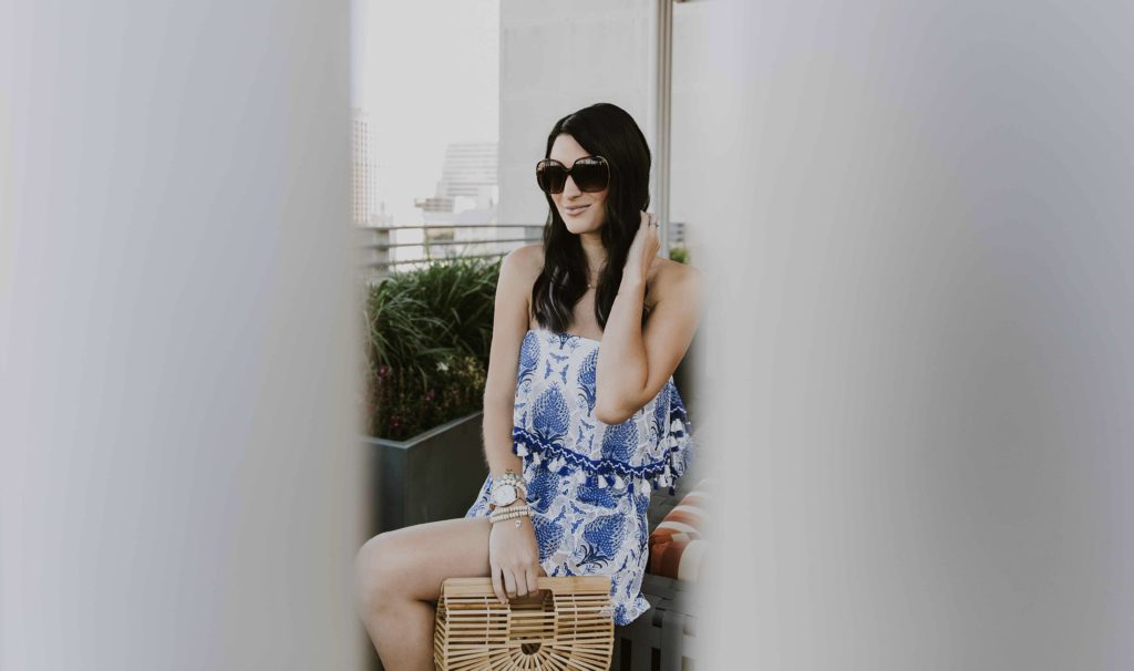 DTKAustin shares her favorite summer white and blue tassel set. There are tons of similar romper options listed that would be perfect for summer vacation. Click for more images and info!