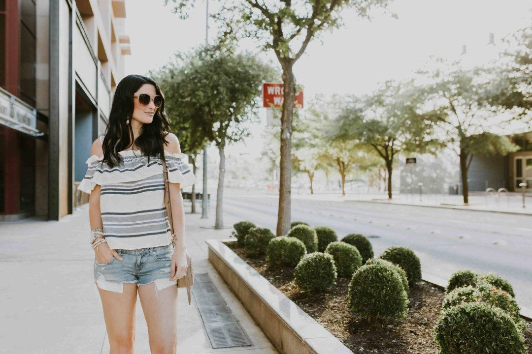 DTKAustin shares one of her go-to, affordable striped off-the-shoulder tops from Splendid. Click for more information or details.