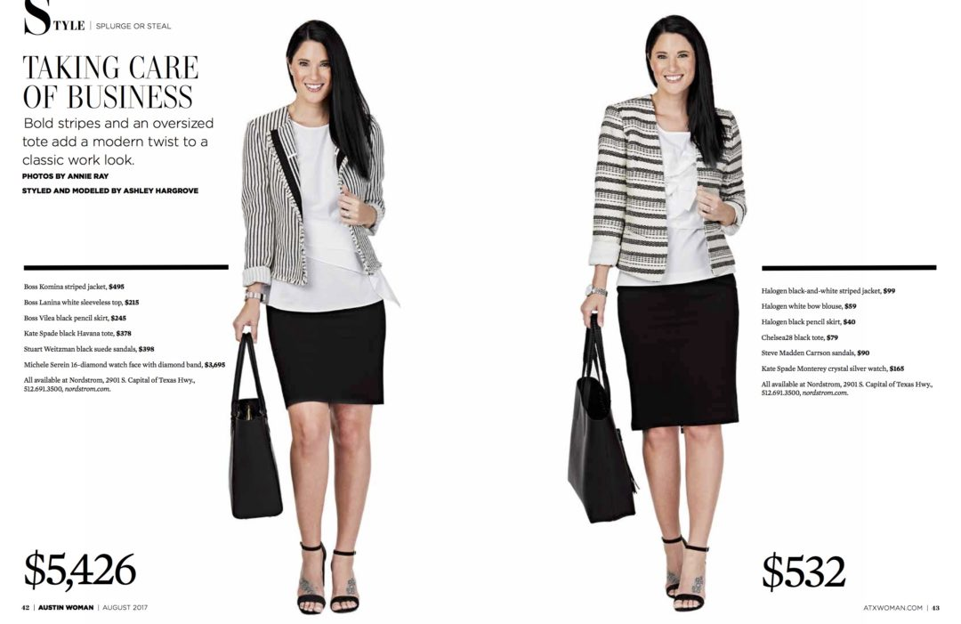 DTKAustin shares her splurge or steal in Austin Woman Magazine on how to dress appropriately for work in a skirt suit on a budget plus the expensive option if you want to splurge. Click for more details and images!