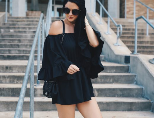 Austin Blogger DTKAustin is sharing this Chicwish black off-the-shoulder romper with fabulous ruffle detailing. Under $100 and the perfect piece to transition into Fall with a cute pair of OTK, over-the-knee boots. Click for more details and photos.