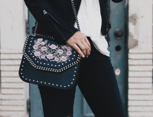 Austin Blogger DTKAustin shares how to make an edgy look more feminine and dainty with different accessories like this Stella McCartney handbag or this WAYF lace up top. Click for more details and photos.