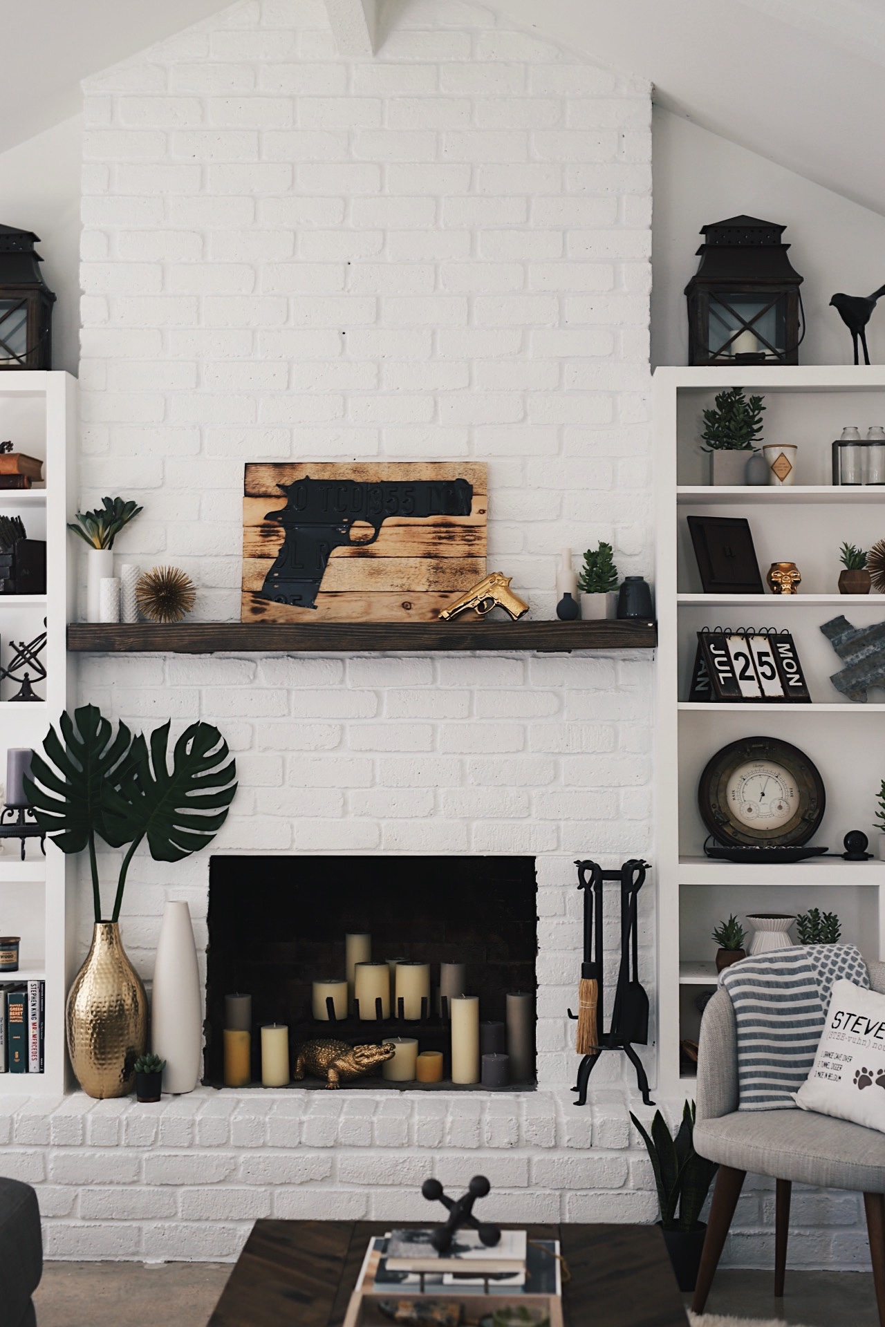 how to easily u0026 affordably paint a brick fireplace white dressed