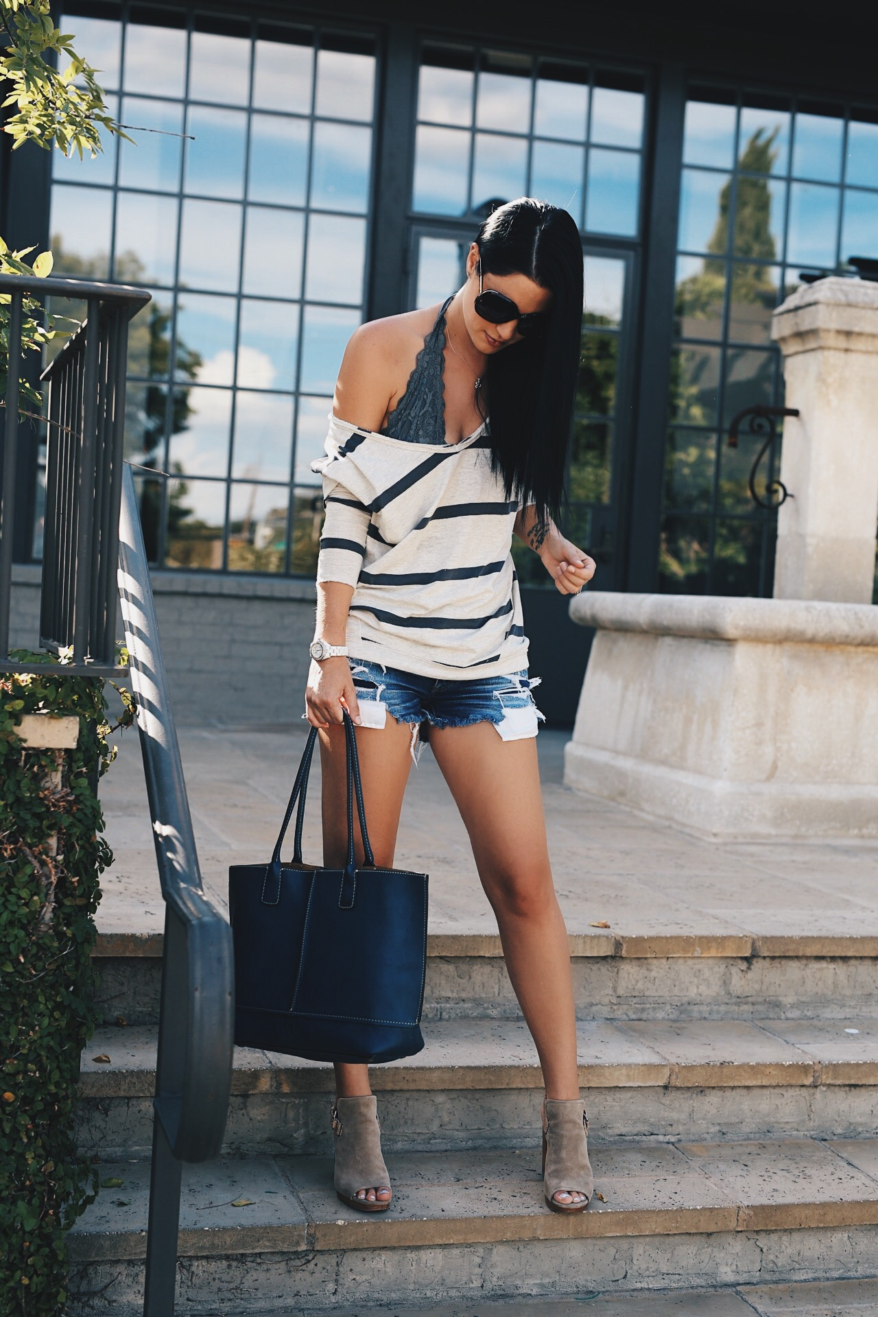 slouchy striped sweater and frye tote