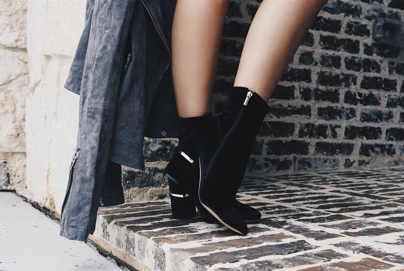 Marc Fisher velvet booties and black dress
