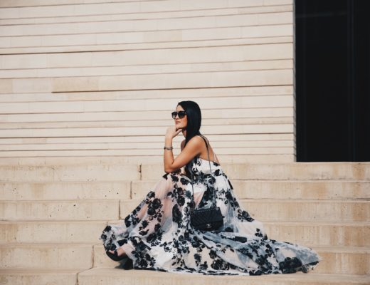DTKAustin shares the most affordable black and white floral print maxi dress from Akira. Under $100 with a stunning criss-cross back it is perfect for date night.