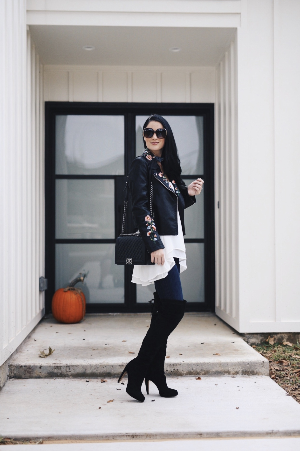Austin Blogger DTKAustin shares an affordable faux leather, floral embroidered moto jacket from Chicwish under $70!   how to style a faux leather jacket   how to wear a faux leather jacket   affordable faux leather jackets   fall fashion tips   fall outfit ideas   fall style tips   what to wear for fall   cool weather fashion   fashion for fall   style tips for fall   outfit ideas for fall    Dressed to Kill #fallstyle #fauxleather #embroideredjacket