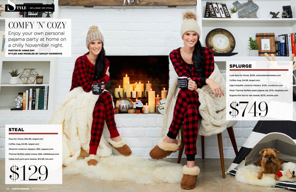 DTKAustin shares her recent Splurge or Steal Column about plaid pajamas in Austin Woman Magazine just in time for winter!