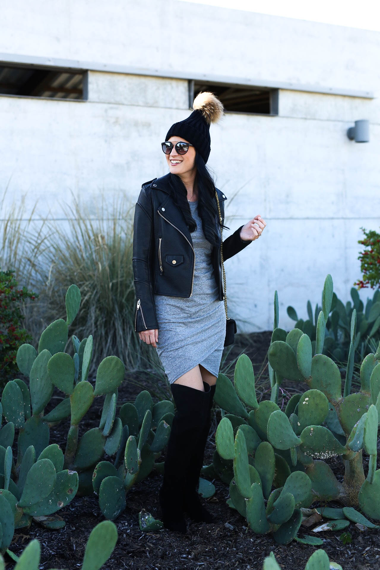 Ruched Long Sleeve Dress, Black Moto Jacket, Ruby Suede Over the Knee Boot, Henri Bendel Over the Shoulder Bag, Mirrored Sunglasses, Black Fur Pom Sweater Hat | fall style tips | what to wear for fall | cool weather fashion | fashion for fall | style tips for fall | outfit ideas for fall || Dressed to Kill #pompombeanie #leatherjacket #fallstyle