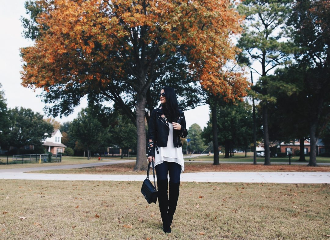 Austin Blogger DTKAustin shares an affordable faux leather, floral embroidered moto jacket from Chicwish under $70!