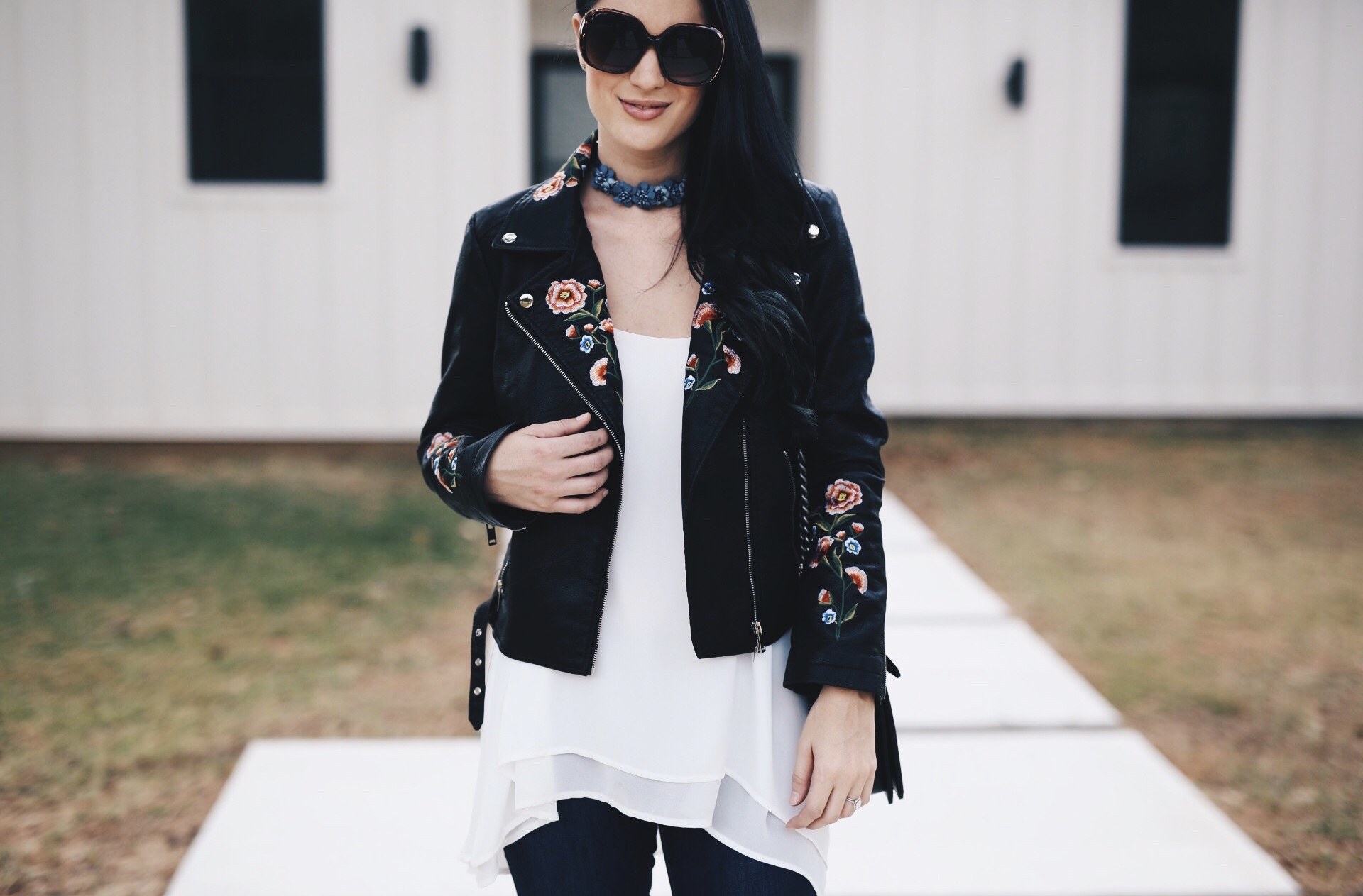 Austin Blogger DTKAustin shares an affordable faux leather, floral embroidered moto jacket from Chicwish under $70! | how to style a faux leather jacket | how to wear a faux leather jacket | affordable faux leather jackets | fall fashion tips | fall outfit ideas | fall style tips | what to wear for fall | cool weather fashion | fashion for fall | style tips for fall | outfit ideas for fall || Dressed to Kill #fallstyle #fauxleather #embroideredjacket