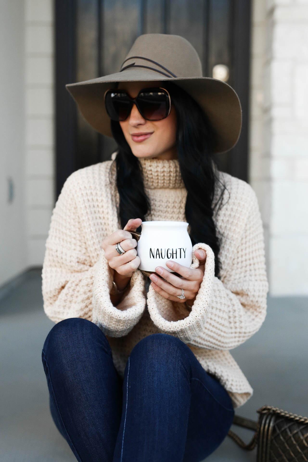 Ribbed Turtleneck Sweater, Mid Rise Skinny Jeans, Sorel Shearling Cuff Waterproof Boots, Chanel Handbag, Felt Hat | how to style a winter sweater | sweater style tips | sweaters for winter | affordable winter sweaters | winter style tips | what to wear for winter | cool weather fashion | fashion for winter | style tips for winter | outfit ideas for winter || Dressed to Kil #sweaterweather #sweatersforwomen #sweaters - Sweater Weather with Goodnight Macaroon by Austin fashion blogger Dressed to Kill