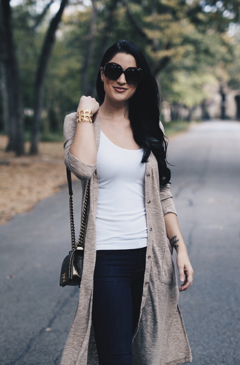 Knit Cardigan, White Camisole, Mid Rise Skinny Jeans, Chanel Bag, Sorel Boots for Women | fall style tips | what to wear for fall | cool weather fashion | fashion for fall | style tips for fall | outfit ideas for fall || Dressed to Kill #cardigansweater #fallstyle #fallstyletrends - Must Shop Black Friday + Cyber Monday Sales by Austin fashion blogger Dressed to Kill