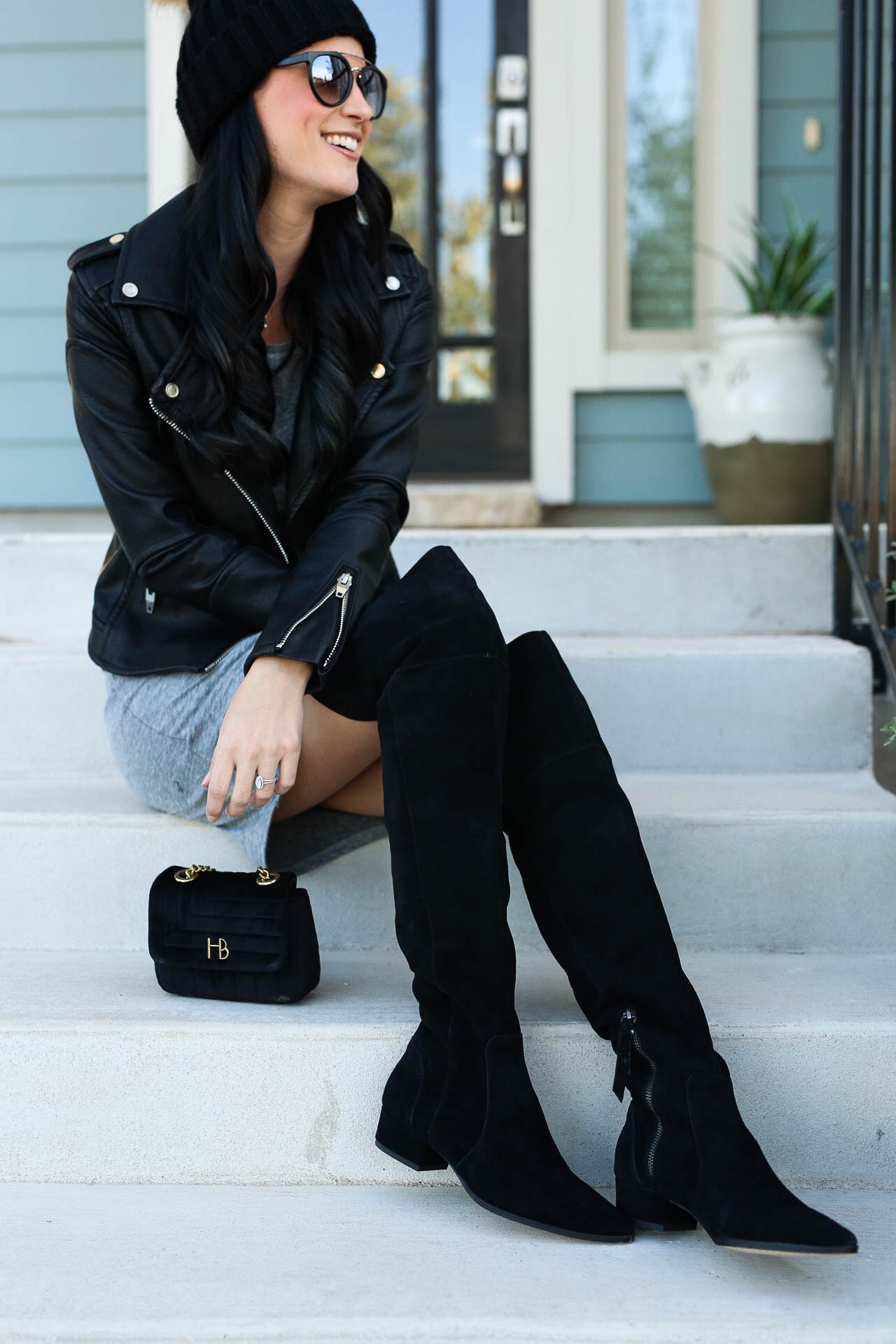 Ruched Long Sleeve Dress, Black Moto Jacket, Ruby Suede Over the Knee Boot, Henri Bendel Over the Shoulder Bag, Mirrored Sunglasses, Black Fur Pom Sweater Hat   fall style tips   what to wear for fall   cool weather fashion   fashion for fall   style tips for fall   outfit ideas for fall    Dressed to Kill #pompombeanie #leatherjacket #fallstyle