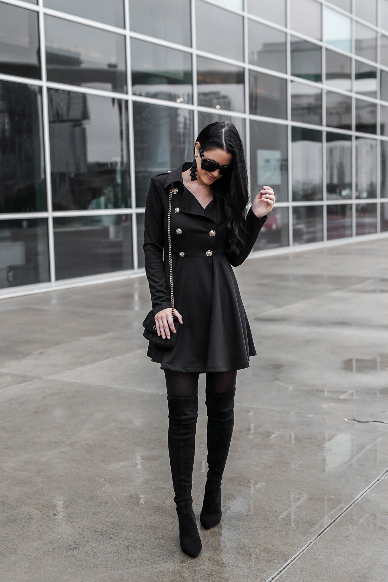 Tips on How to Wear a Black Trench Coat as a Dress | trench coat outfits | trench coats for women | how to style a trench coat | dresses for winter | winter fashion tips | winter style ideas || Dressed to Kill #trenchcoat #winterdresses #winterfashion - How to Wear a Trench Coat Dress by popular Austin fashion blogger Dressed to Kill