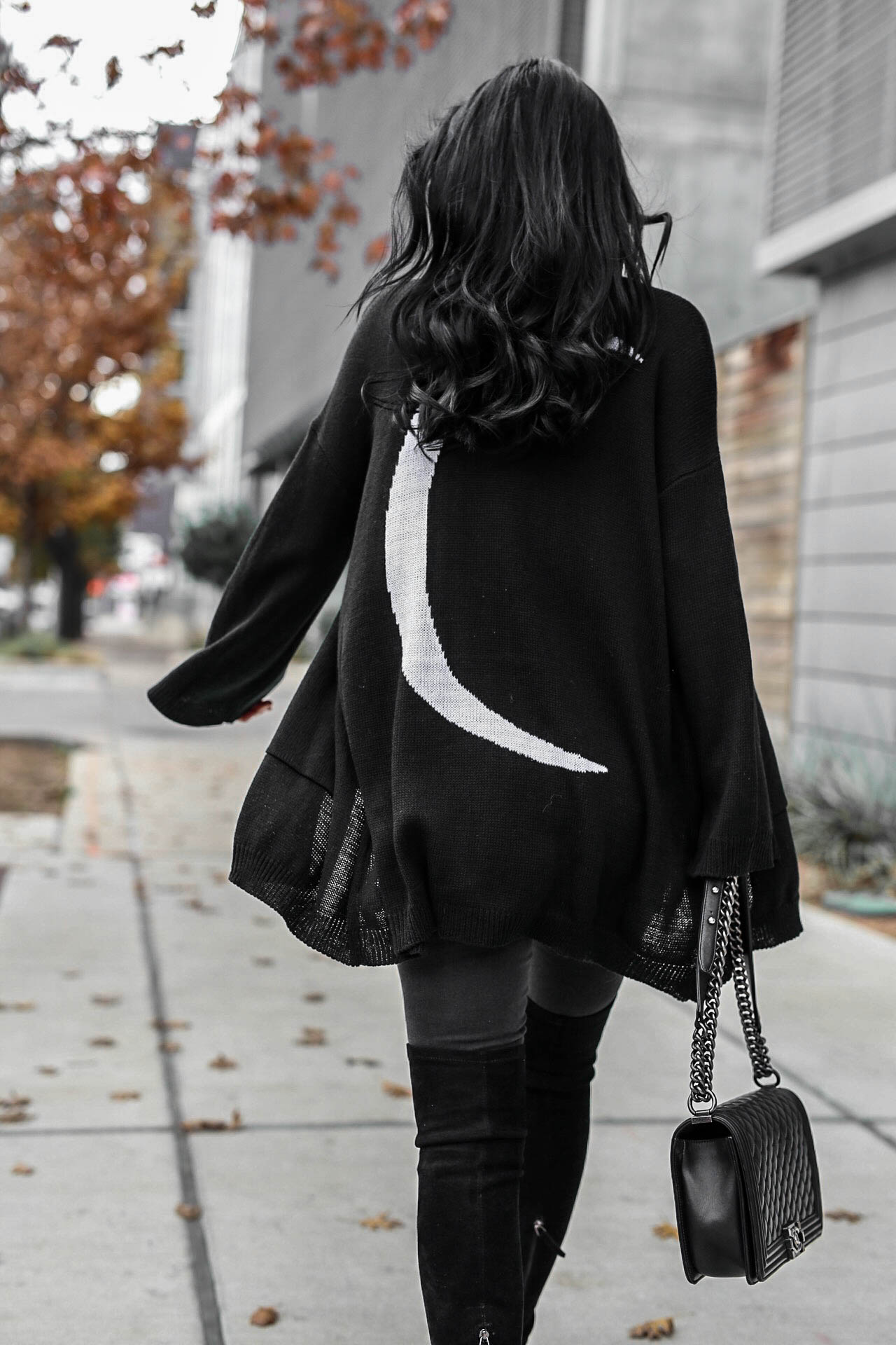 DTKAustin shares how to pull off an all black look as well as why she has an affinity for stars and moons. Cardigan from Show me Your Mumu.   black distressed jeans   Chanel handbag   OTK suede leather boots   all black fashion for women   all black outfit for winter   over the knee boots style    Dressed to Kill #otkboots #allblack #distressedjeans