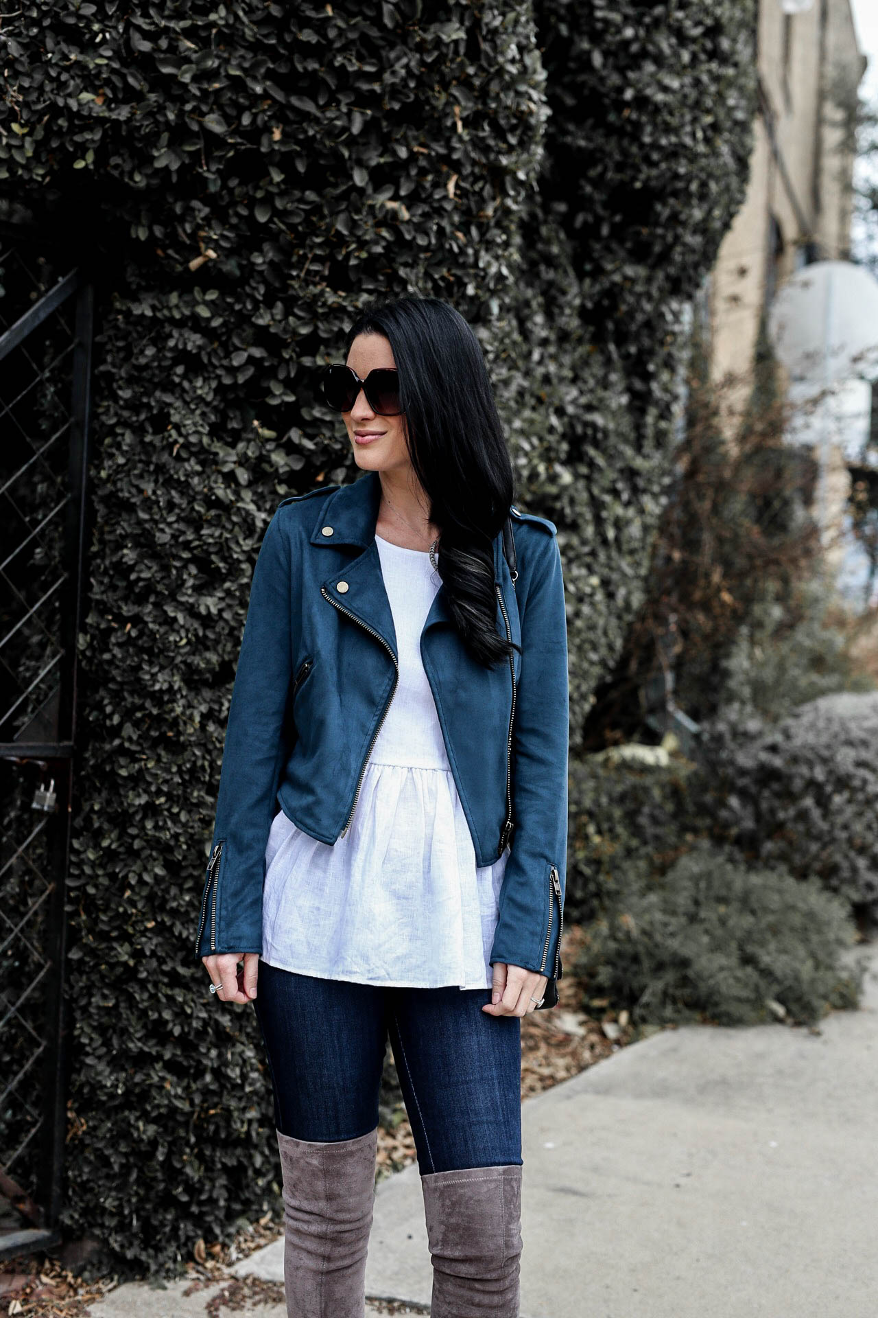 Teal Moto Jacket by popular Austin style blogger Dressed to Kill   Teal Moto Jacket   Must Have Transitional Moto Jackets   moto jacket outfit ideas   how to style a Moto jacket   Moto jackets for women    Dressed to Kill #motojacket #transitionalstyle #winteroutfits