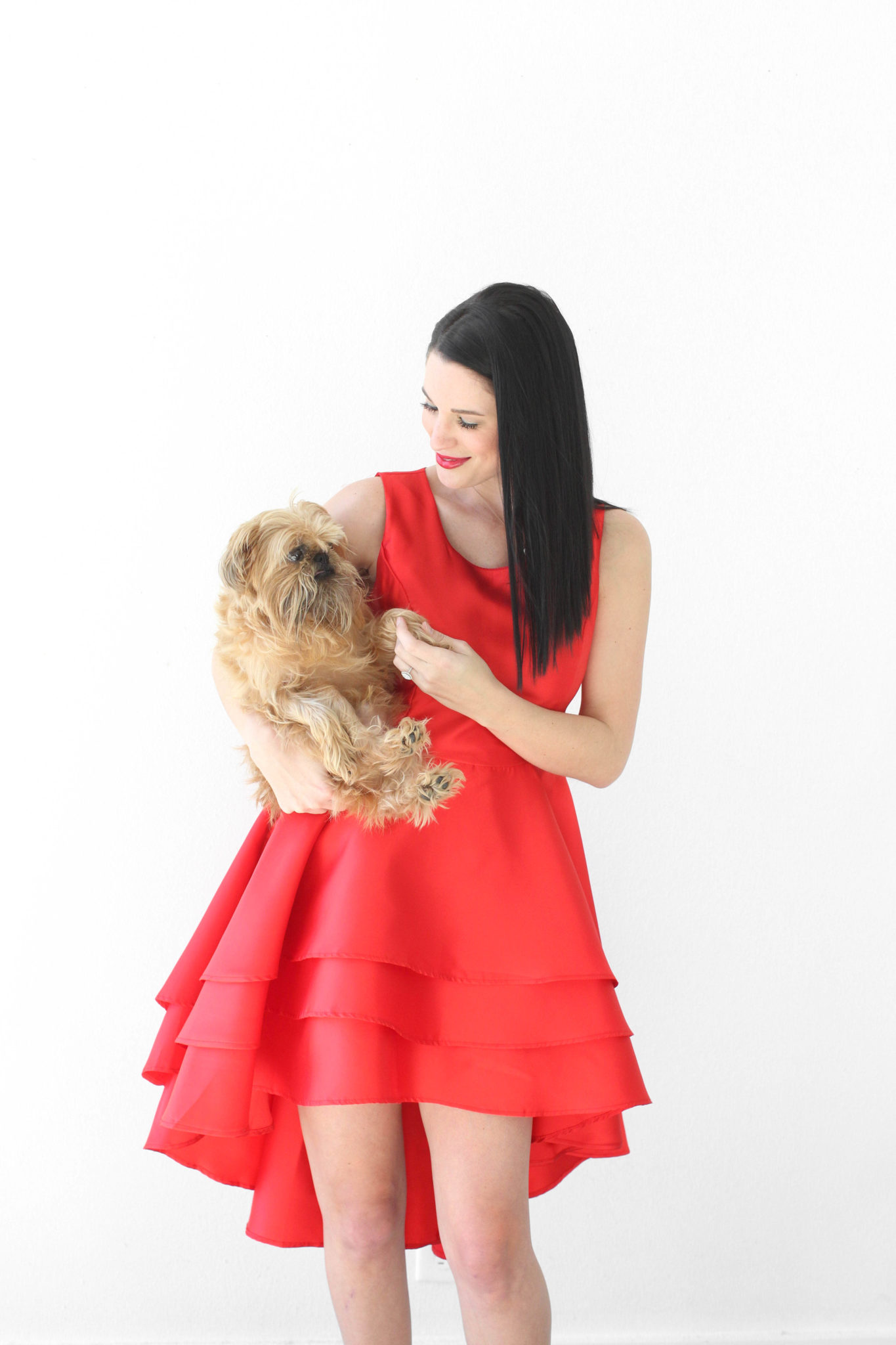 12 Must Have Little Red Dresses for Galentine's Day | classy red dresses | red dress outfit | valentine's day outfit | Valentine's Day dress || Dressed to Kill #reddress #valentinedress #valentineoutfit | Little Red Dresses for Galentine's Day by top US fashion blog, Dressed to Kill: image of a woman holding a small dog and wearing a Jill Jill Stuart red dress, Kelly Wynne bag and Steve Madden shoes