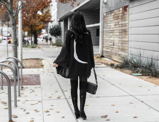 DTKAustin shares how to pull off an all black look as well as why she has an affinity for stars and moons. Cardigan from Show me Your Mumu.