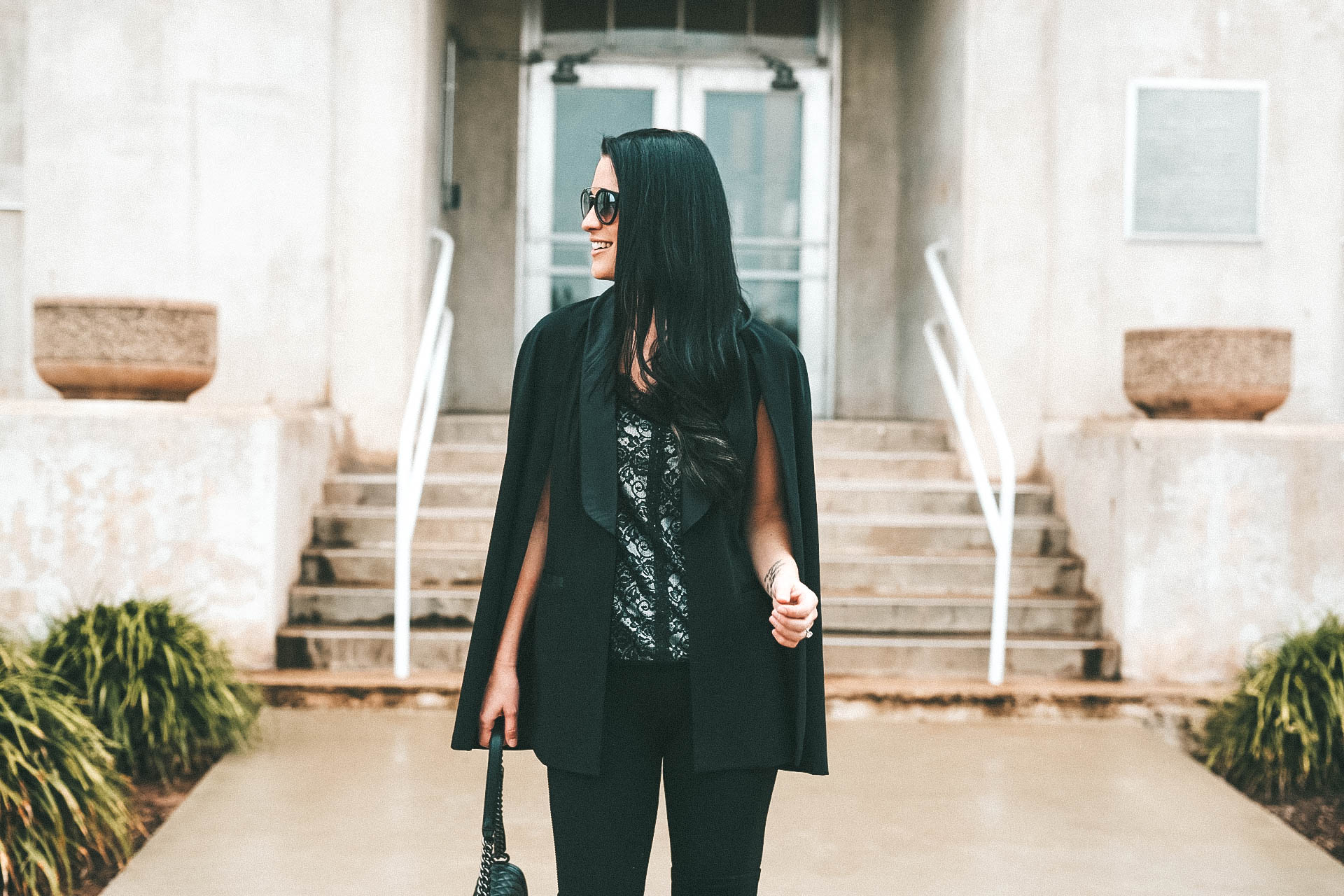 DTKAustin is sharing a major sale alert on the Laundry by Shelli Segal site. This black tuxedo cape and lace cami are both on sale. - Shelli Segal Removable Tuxedo Cap by popular Austin style blogger Dressed to Kill
