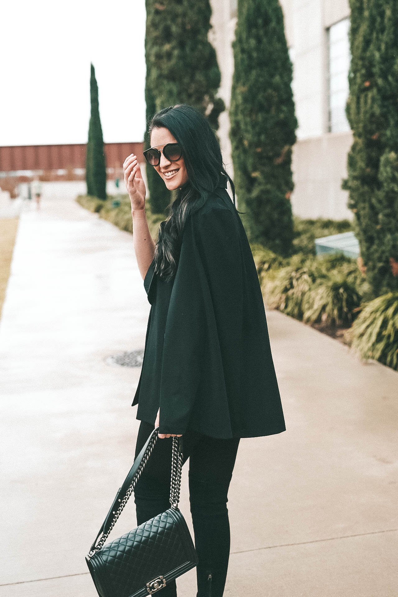 Black tuxedo cape and lace cami || Dressed to Kill #tuxedocape #camisole #lacecami - Shelli Segal Removable Tuxedo Cap by popular Austin style blogger Dressed to Kill