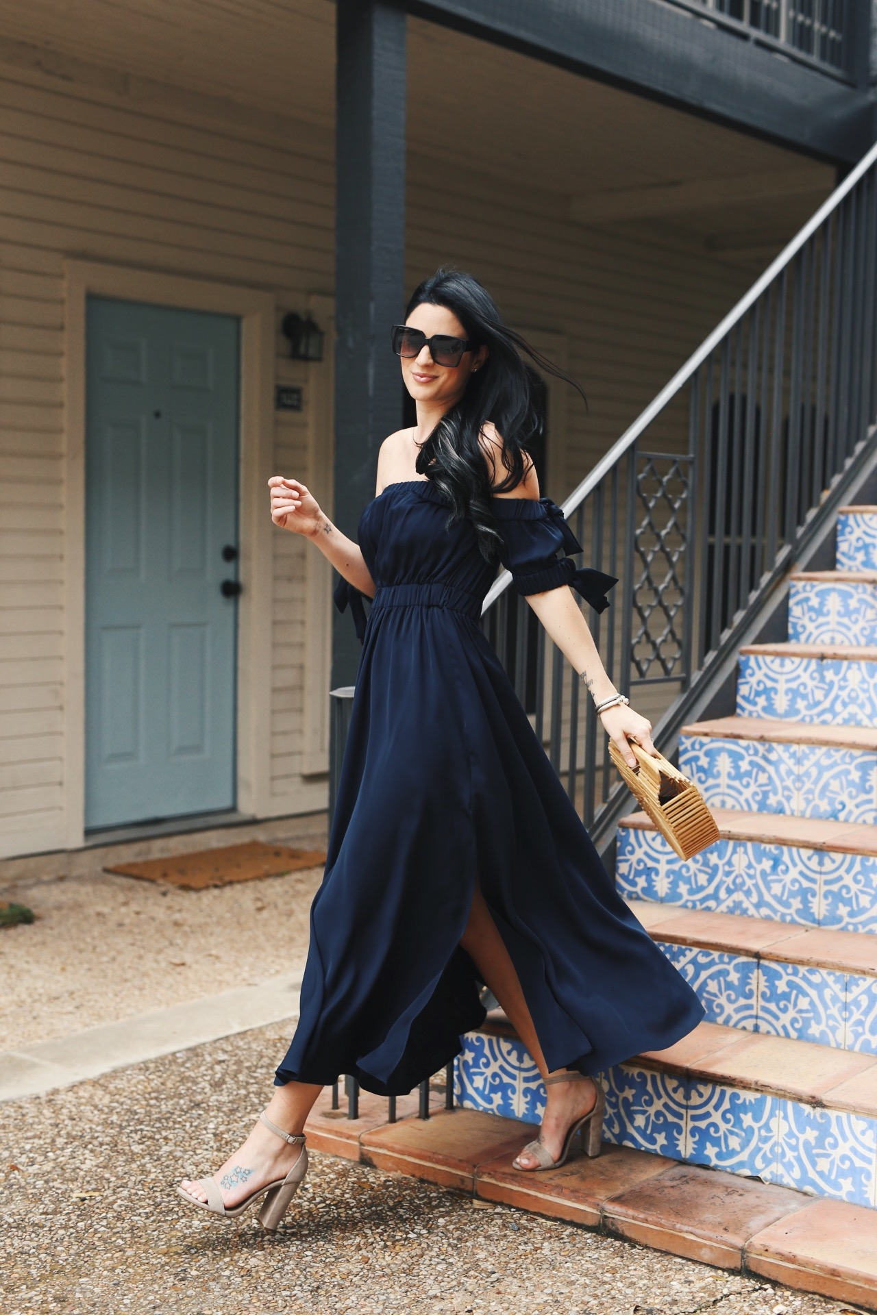 Spring and Summer Dresses featured by top US fashion blog Dressed to Kill; Image of a woman wearing - Milly dress, Cult Gaia handbag, Steve Madden shoes, YSL sunglasses, David Yurman bracelets.