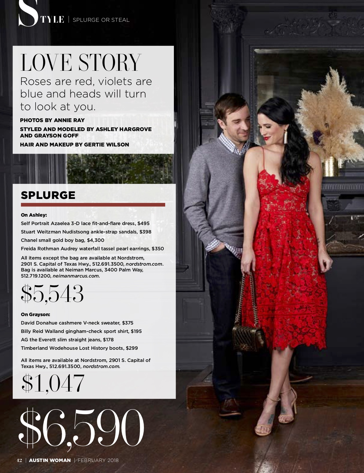DTKAustin shares her recent Splurge or Steal Column about Date Night Ideas for him and her in Austin Woman Magazine just in time for Valentine's Day! || Dressed to Kill #valentineoutfits #datenightoutfit #reddress | Valentine's Date Night Outfits for Him & Her by top US fashion blog Dressed to Kill