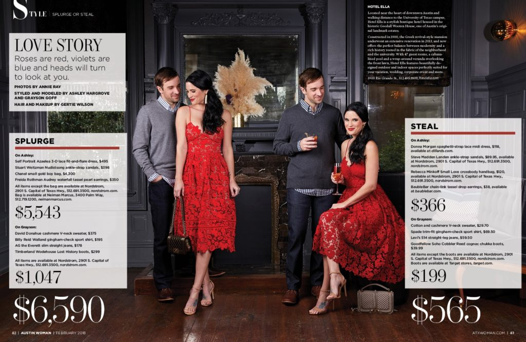 DTKAustin shares her recent Splurge or Steal Column about Date Night Ideas for him and her in Austin Woman Magazine just in time for Valentine's Day! | Valentine's Date Night Outfits for Him & Her by top US fashion blog Dressed to Kill