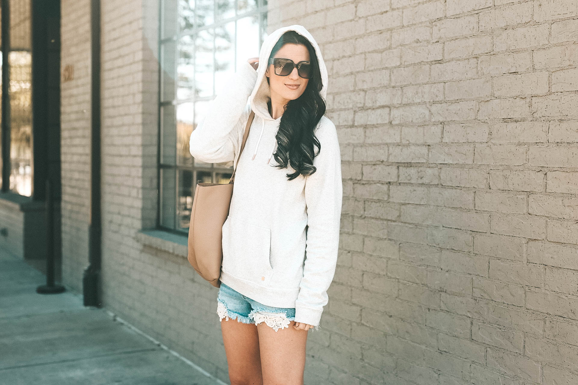 DTKAustin shares how to pull off the athleisure trend for Spring & Summer w/Zappos and Cotton. Hoodie by Volcom, Tote by Gigi New York, Shorts from Target. - Athleisure Trend for Summer w/Cotton & Zappos by popular Austin style blogger Dressed to Kill