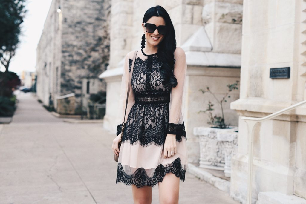 {Sheer Black Lace Dress for Spring}