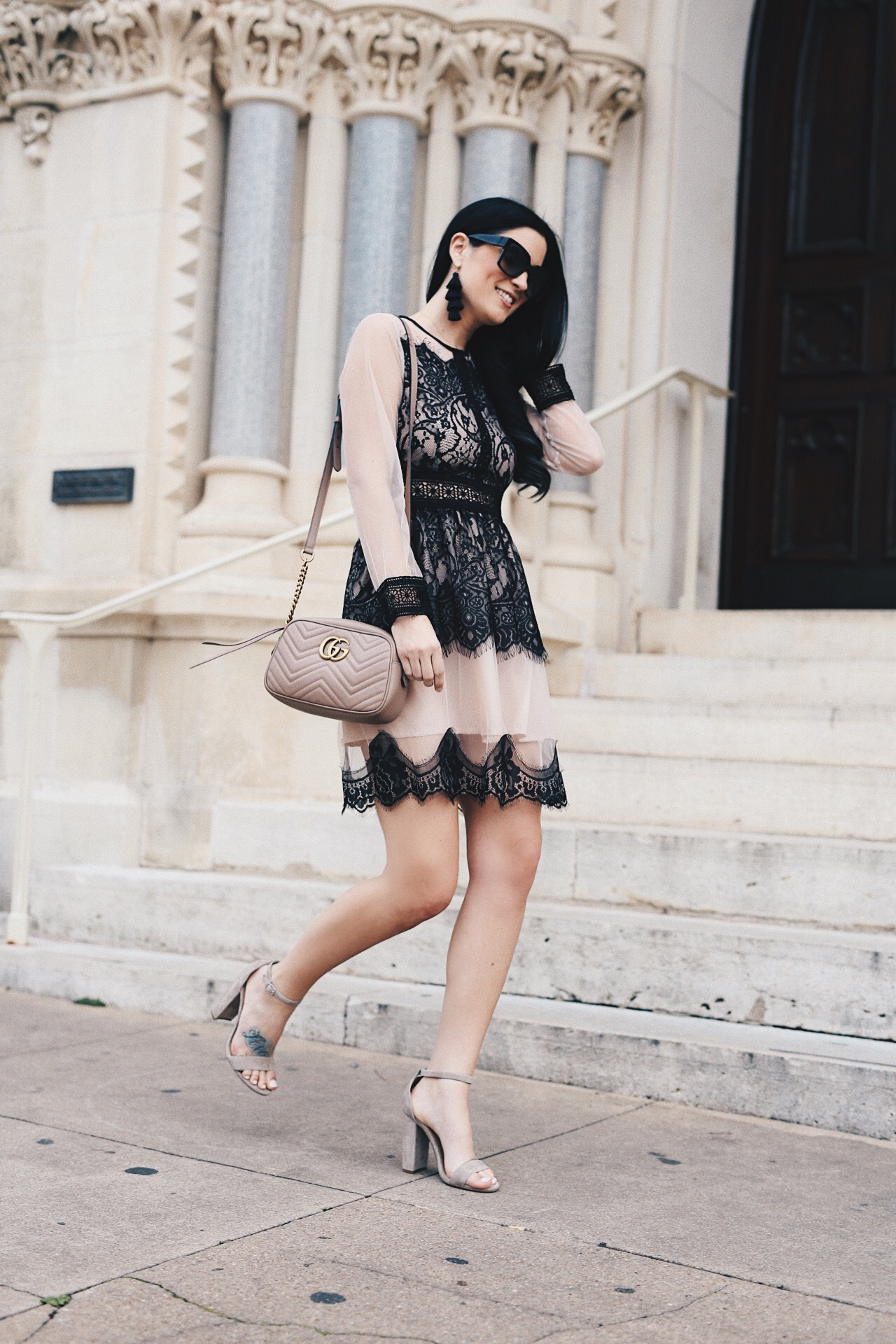 DTKAustin shares the perfect, lightweight dress that you can transition into summer for those cooler days. Gucci Marmont Small Beige Crossbody, Chicwish Dress - Sheer Black Lace Dress styled by popular Austin fashion blogger, Dressed to Kill