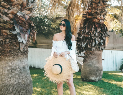 DTKAustin shares where to get the best white tops for summer from Chicwish that wont break the bank along with her frayed straw hat on sale.