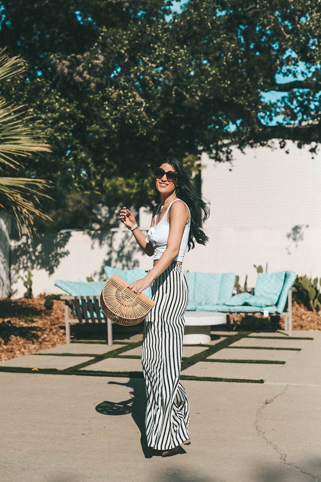 How to Style Striped Wide Leg Pants for Summer   summer pants   striped pants outfit   summer outfit ideas    Dressed to Kill #style #fashion #womensoutfits #stripedpants #summerstyle