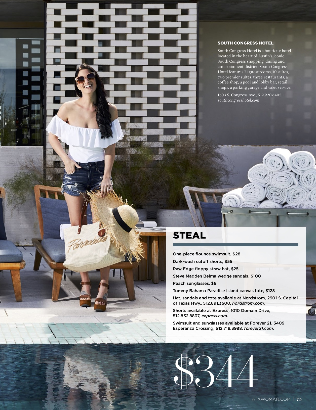 DTKAustin shares her recent Splurge or Steal Column about warm weather swimwear in Austin Woman Magazine just in time for Summer vacation! || Dressed to Kill #summeroutfits #swimwear #affordableswim #onepiecebathingsuit - Summer Pool Outfits + GIVEAWAY} by popular Austin style blogger, Dressed to Kill