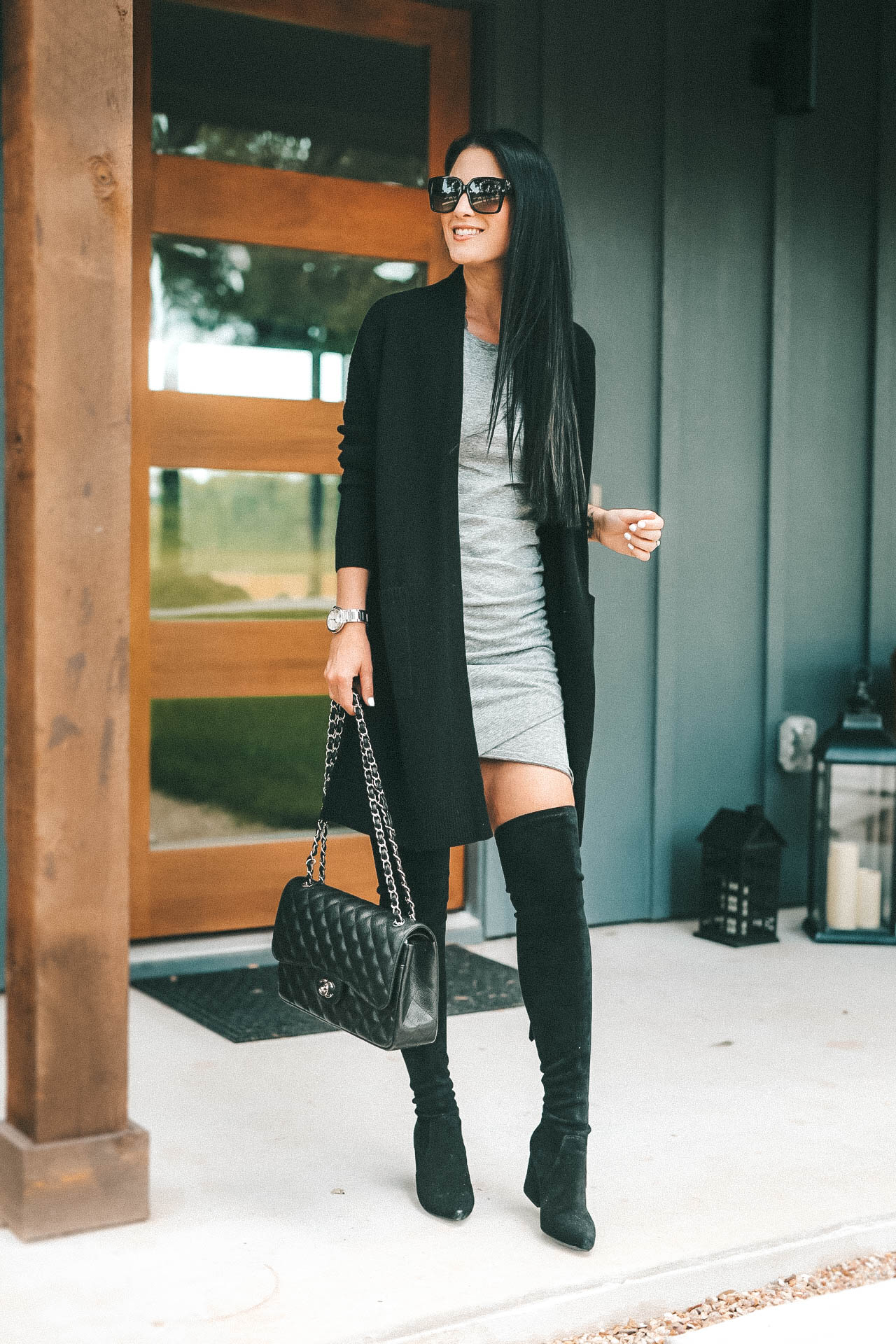 DTKAustin shares her must have cashmere from the NSALE Nordstrom Anniversary Sale. Starting with this Vince cashmere cardigan, Steve Madden OTK Over the Knee boots and Leith body-con dress. Must Have Cashmere Pieces | 2018 Nordstrom Anniversary Sale || Dressed to Kill #style #fashion #womensoutfit #cashmere #cashmeresweater #cashmerescarf #cashmerecardigan #dtkaustin - {Must Have Cashmere from the Nordstrom Anniversary Sale + Giveaway} featured by popular Austin fashion blogger Dressed to Kill