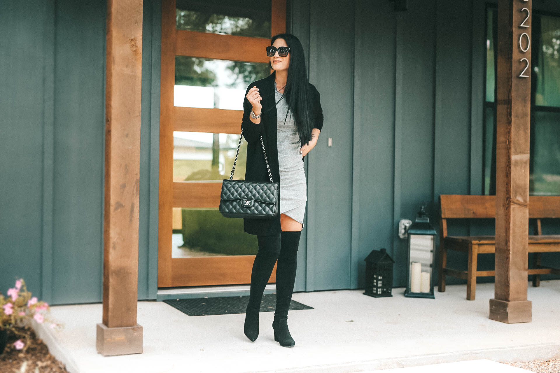 DTKAustin shares her must have cashmere from the NSALE Nordstrom Anniversary Sale. Starting with this Vince cashmere cardigan, Steve Madden OTK Over the Knee boots and Leith body-con dress. - {Must Have Cashmere from the Nordstrom Anniversary Sale + Giveaway} featured by popular Austin fashion blogger Dressed to Kill