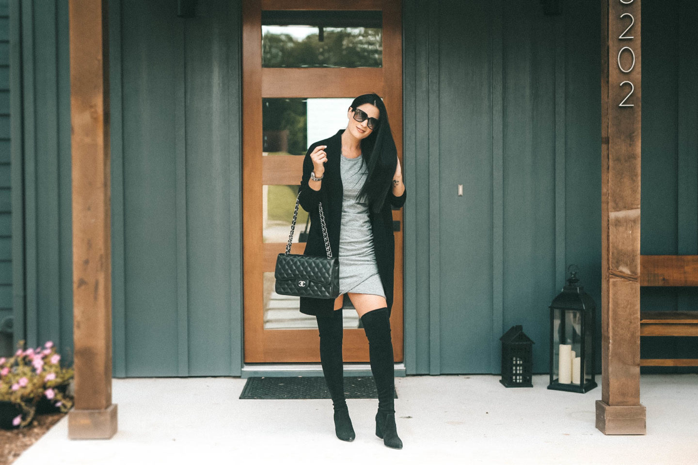 DTKAustin shares her must have cashmere from the NSALE Nordstrom Anniversary Sale. Starting with this Vince cashmere cardigan, Steve Madden OTK Over the Knee boots and Leith body-con dress.
