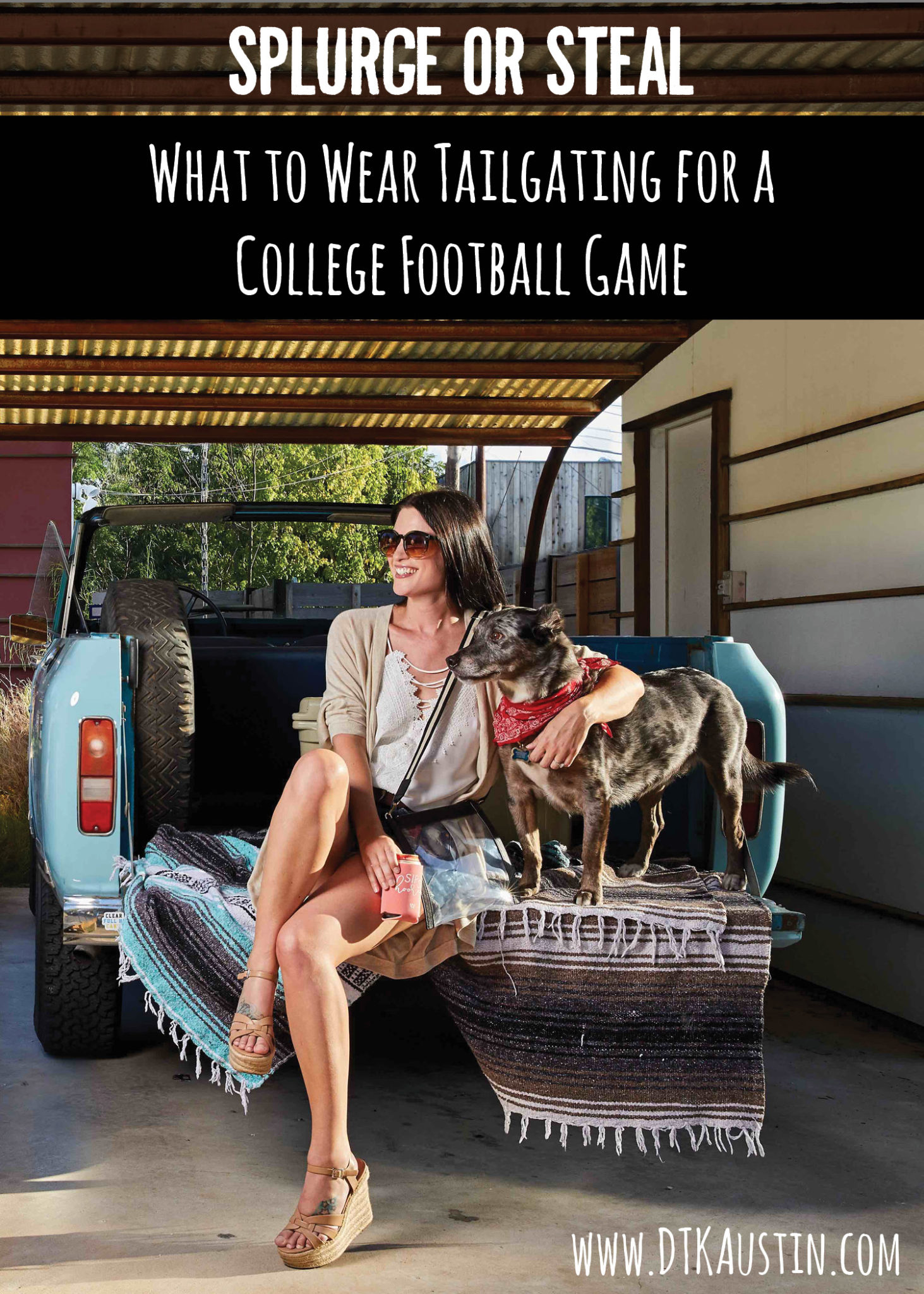 DTKAustin shares Splurge or Steal options for what to wear Tailgating at a College Football Game. | high end style | affordable game day fashion || DTK Austin #splurgeorsteal #fashion #style #womensoutfits #gamedaylooks #dtkaustin - {Splurge or Steal - Tailgating Outfit} featured by popular Austin fashion blogger Dressed to Kill