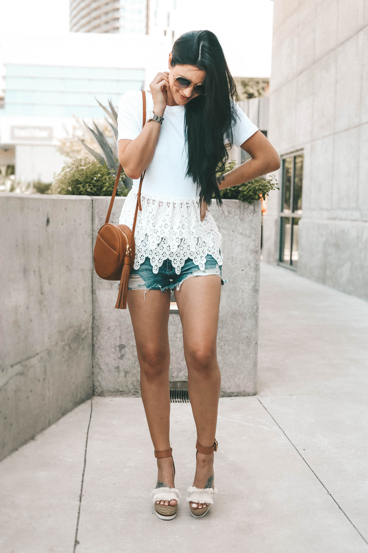 #style #fashion #outfits #womensoutfit #peplum #peplumtop #summerfashion #summerstyle #summeroutfit #dtkaustin the perfect white lace peplum top for summer from Chicwish. It is under $30 and an affordable staple top. - {How to Wear a Crochet Peplum Top + Why They are so Flattering} featured by popular Austin fashion blogger Dressed to Kill